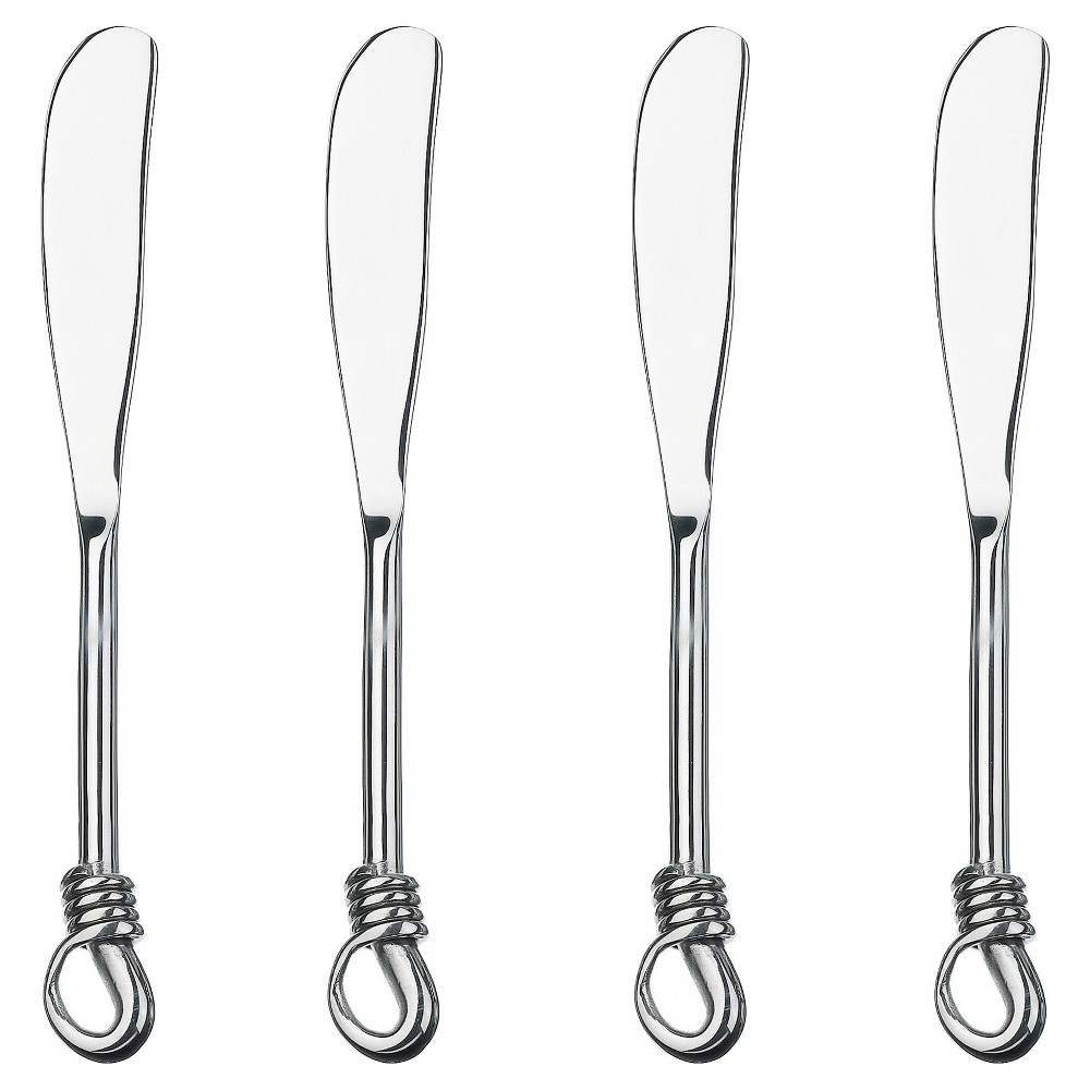 Image of Gourmet Silverware Settings Twist 4pc Spreader Silverware Set