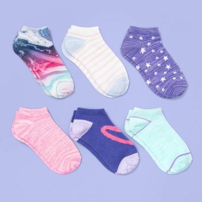 Girls' 6pk Tie-Dye No Show Socks - More Than Magic™