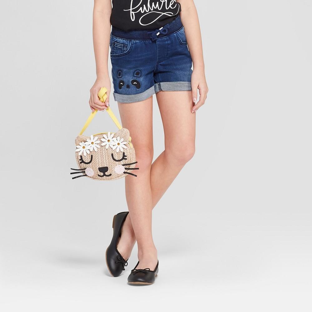 Plus Size Girls' Pull-On Panda Cuffed Jean Shorts - Cat & Jack Dark Wash L Plus, Blue