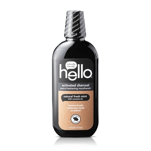 Hello Activated Charcoal Natural Fresh Mint + Coconut Oil Mouthwash - 16 fl oz - image 1 of 4