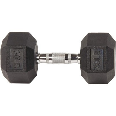 Sporzon Exercise Equipment Single Rubber Encased Hexagon Handheld Free Weight Dumbbell with Contoured Non Slip Handle for Home Fitness, 30 Pounds