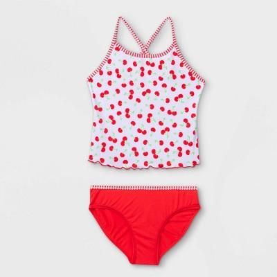 Girls' Cherry Print Tankini Set - Cat & Jack™ Red