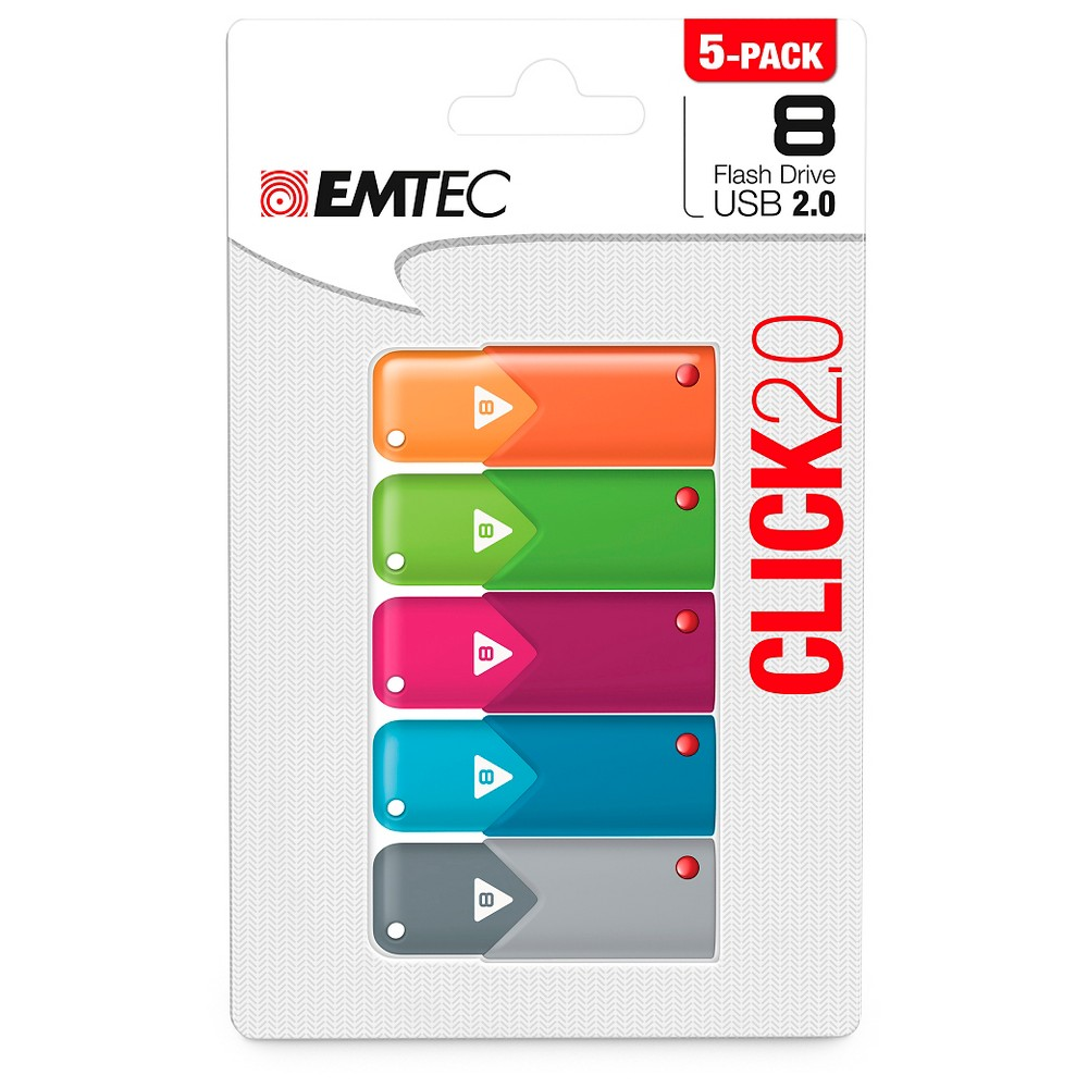 Emtec 8GB Click Usb 2.0 Flash Drive 5-pack (ECMMD8GB102P5), Multi-Colored