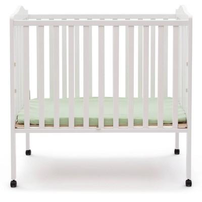 Delta Children Folding Portable Mini Baby Crib with 1.5'' Mattress, Greenguard Gold Certified - White