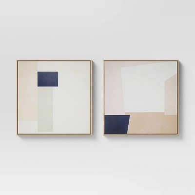 "(Set of 2)24"" x 24"" Geometric Abstract Framed Wall Canvas Neutral - Project 62™"