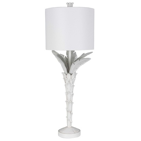 Palm Leaf Buffet Table Lamp White Includes Energy Efficient Light