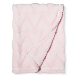 Plush Embossed Baby Blanket Hearts - Cloud Island™ Pink