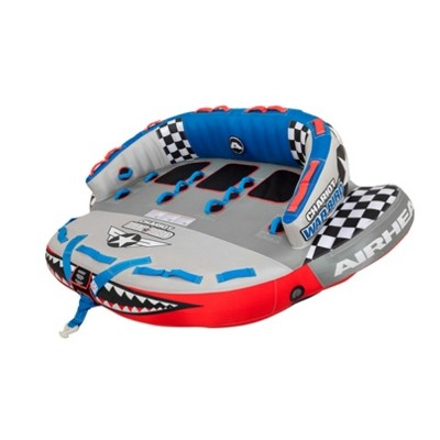 Airhead Sportsstuff Chariot Warbird 3 Person Rider Towable Portable Inflatable Water Tube for Boating with Tow Point, Speed Safety Valve, & Handles