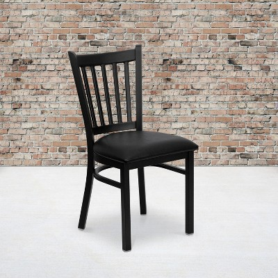 Emma and Oliver Black Vertical Back Metal Restaurant Dining Chair