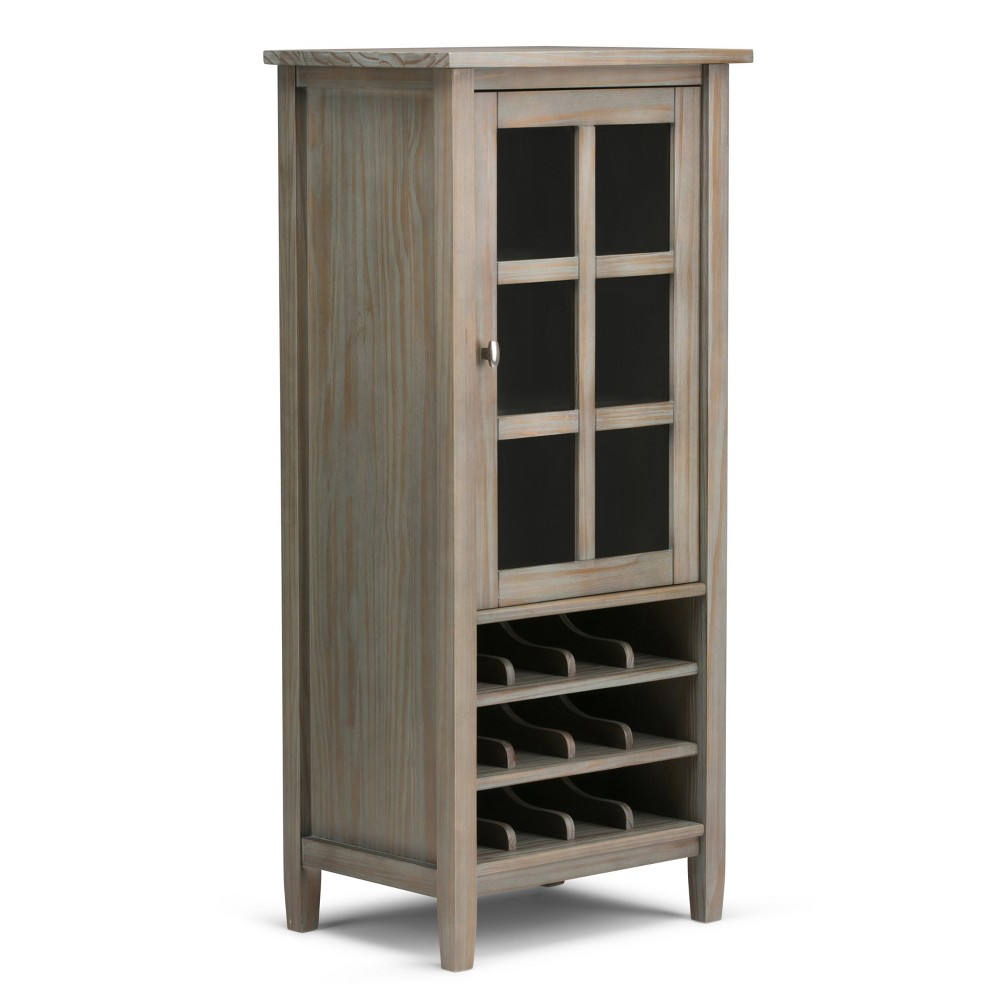 "Image of ""23"""" Norfolk Solid Wood High Storage Wine Rack Distressed Gray - Wyndenhall"""