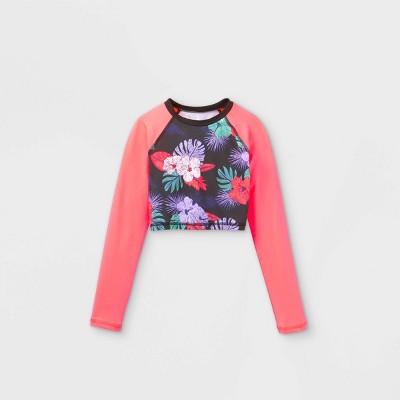 Girls' Long Sleeve Raglan Cropped Floral Rash Guard Swim Shirt - art class™