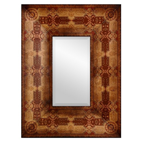Rectangle Olde-Worlde Baroque Style Decorative Wall Mirror Brown - Oriental Furniture - image 1 of 3
