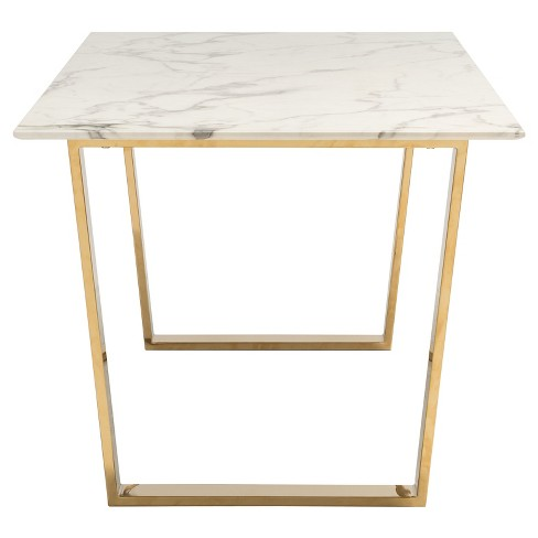 Modern Faux Marble And Stainless Steel Rectangular 71 Dining Table