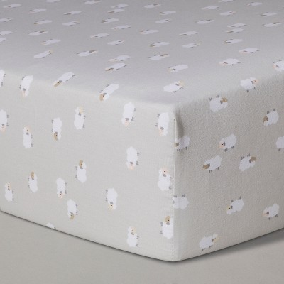 Crib Fitted Sheet Lambs - Cloud Island™ Gray