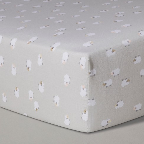 Crib Fitted Sheet Lambs - Cloud Island™ Gray - image 1 of 2