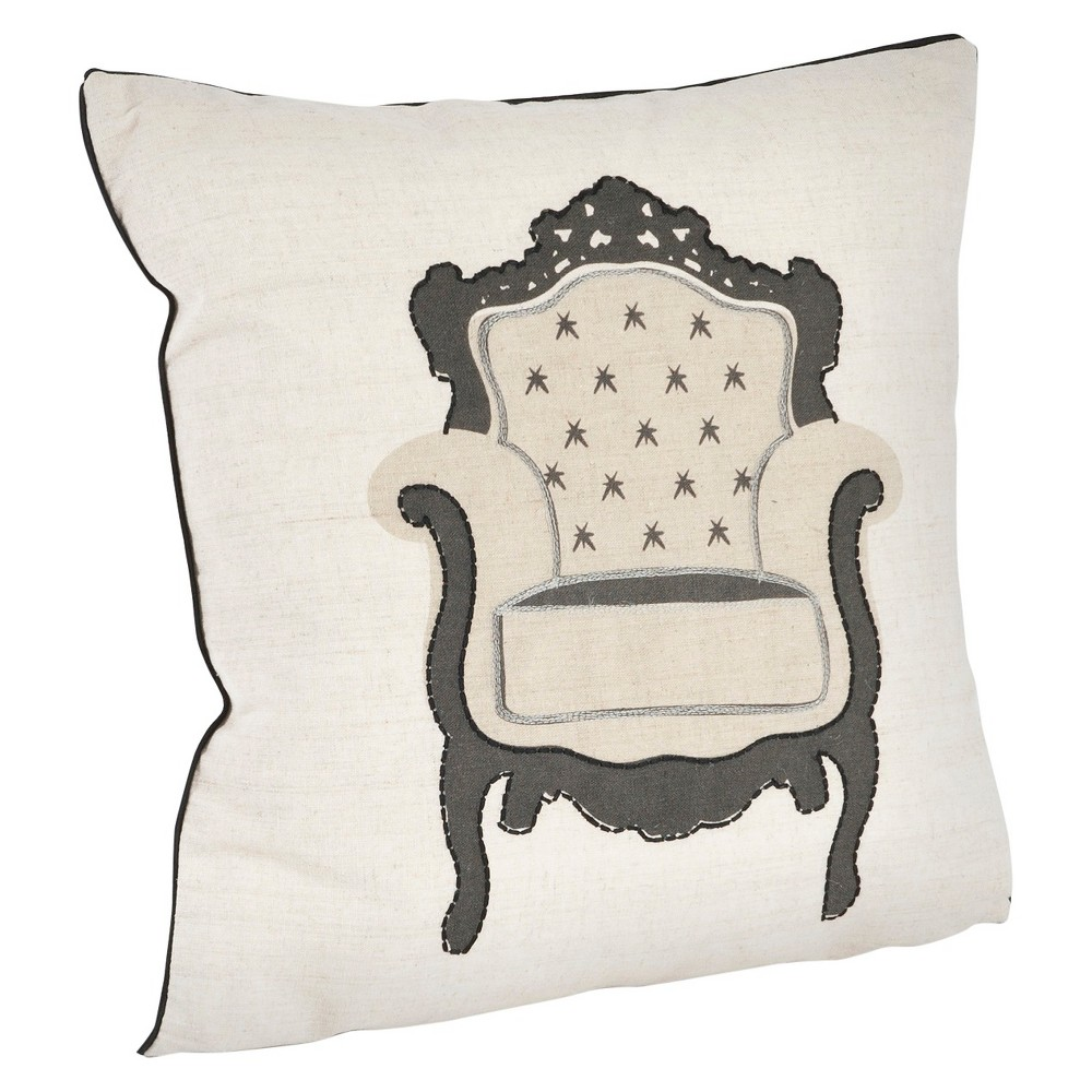 Natural Armchair Design Throw Pillow 18 X18 Saro Lifestyle