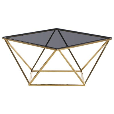 Angled Square Glass and Stainless Steel Coffee Table in Smoked/Gold - Best Master Furniture