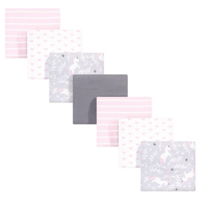 Hudson Baby Unisex Baby Cotton Flannel Receiving Blankets Bundle - Whimsical Unicorn One Size