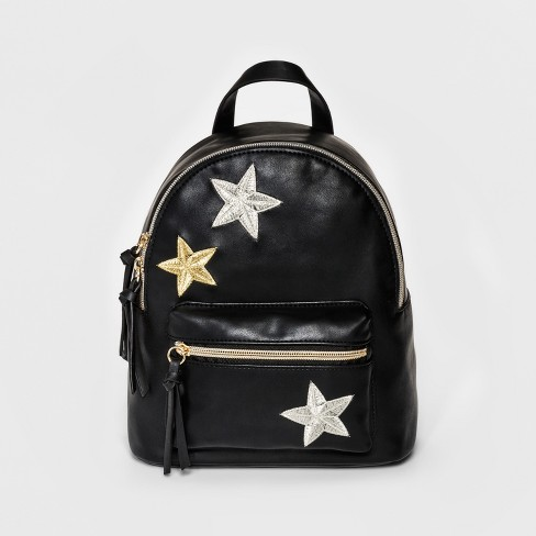 T-Shirt & Jeans Women's Backpack with Embroidered Stars - Black - image 1 of 4