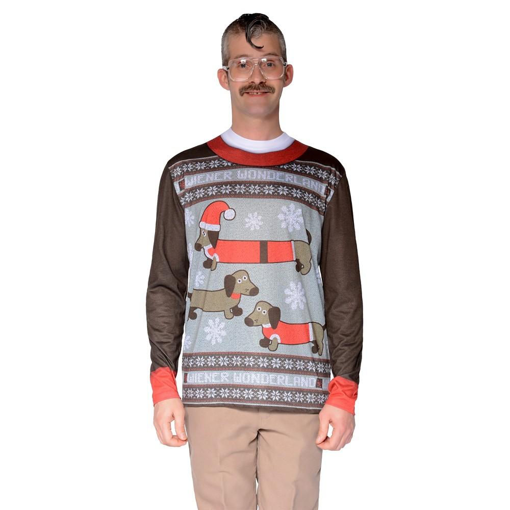 Men's Ugly Christmas Costume Sweater Wiener Dog Wonderland, Long Sleeve T-Shirt - XX-Large, Size: Xxl, Multicolored