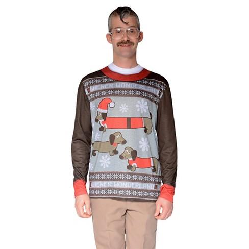 Mens Costume Ugly Christmas Sweater Wiener Dog Wonderland Long