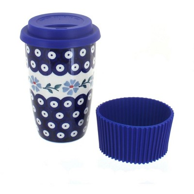 Blue Rose Polish Pottery Blue Violet Travel Coffee Mug