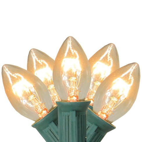 Vickerman 25ct C7 Twinkle Christmas Lights Clear 25 Green Wire