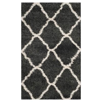 Dark Gray/Ivory Abstract Shag/Flokati Loomed Accent Rug - (3'X5')- Safavieh®