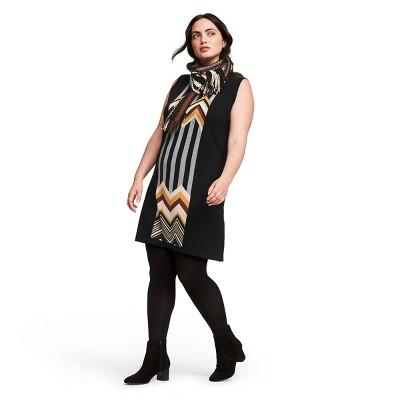 Women's Plus Size Zig Zag Stripes Patchwork Sleeveless Crewneck Sweater Dress   Missoni For Target Black/Brown by Missoni For Target Black/Brown