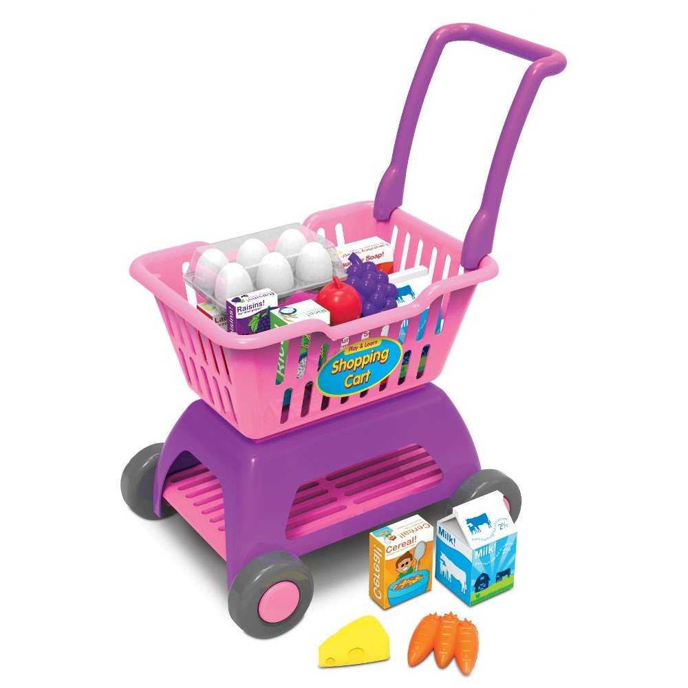 The Learning Journey Play and Learn Shopping Cart Kids can enjoy the complete shopping experience with the Play and Learn Shopping Cart! Our kid-sized Shopping Cart is easy to push with its lightweight plastic construction and big wheels. Fun Accessories include a variety of plastic and cardboard food items. Gender: Unisex.