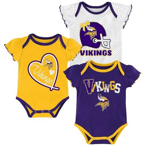 NFL Minnesota Vikings Baby Girls' Newest Fan 3pk Bodysuit Set - image 1 of 4