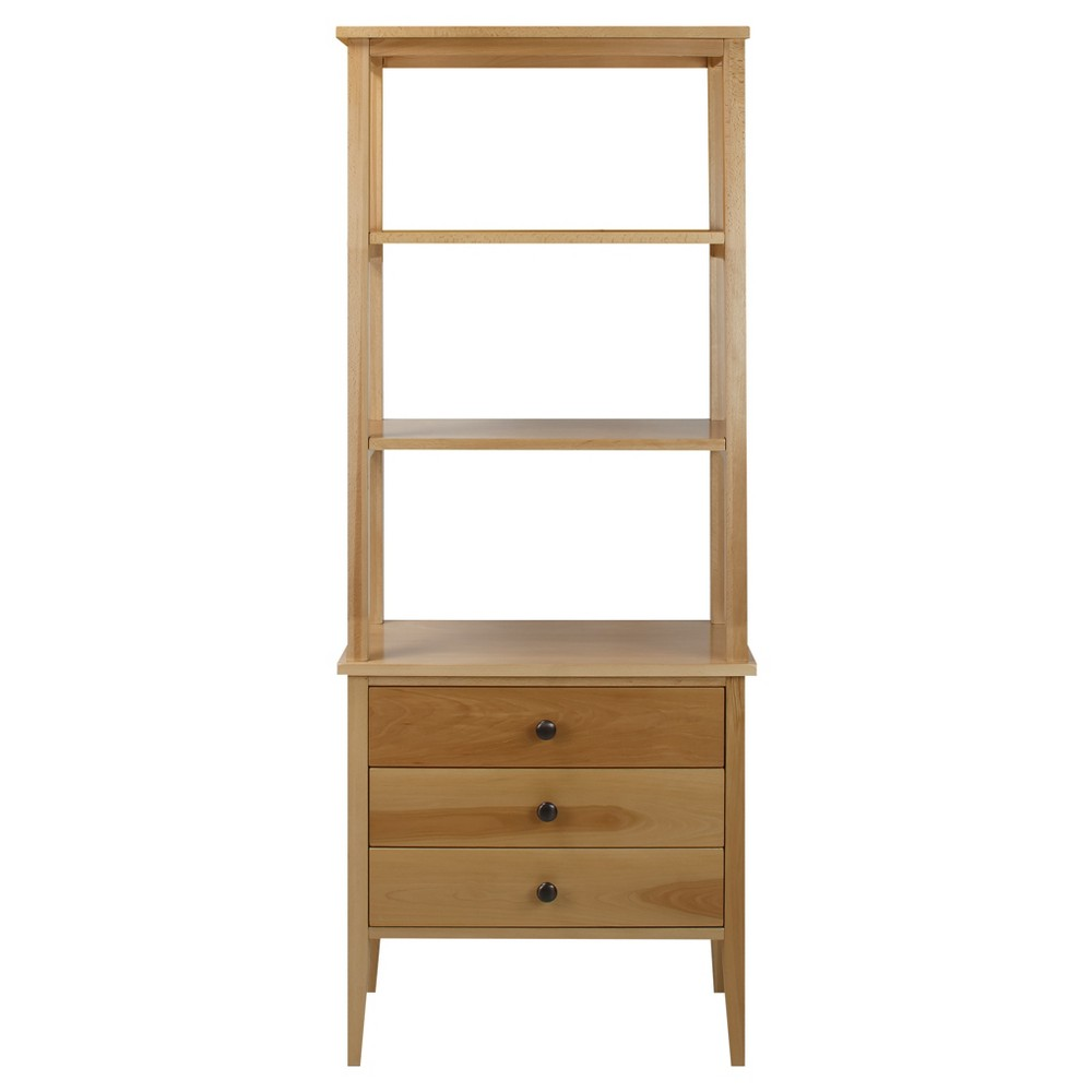 62 Bookcase with Drawers with Solid American Maple - Flora Home, Natural