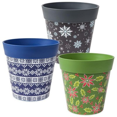 225 & Holiday Hum Pot Colorful Plastic Plant Pots Set of Two - Plow \u0026 Hearth