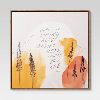 """25"""" x 25"""" Trees Quote by Morgan Harper Nichols Framed Wall Canvas"""