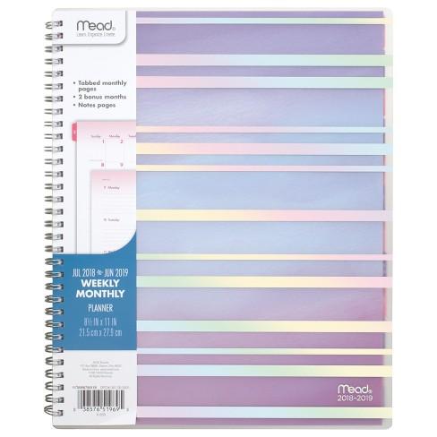 2018 19 academic planner 8 5 x 11 purple stripes mead target
