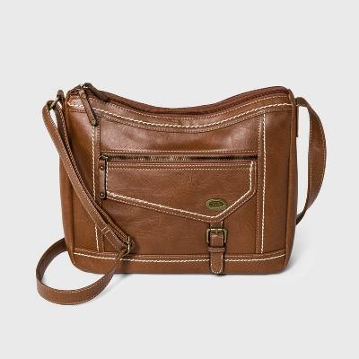 Concept Zip Closure Hobo Handbag - Brown