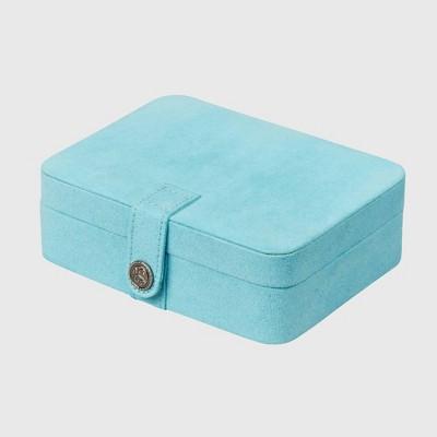 Mele & Co. Giana Women's Plush Fabric Jewelry Box with Lift Out Tray-Aqua