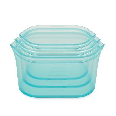 Zip Top Reusable 100% Platinum Silicone Container - 3 Dish Set (S/M/L)- Teal