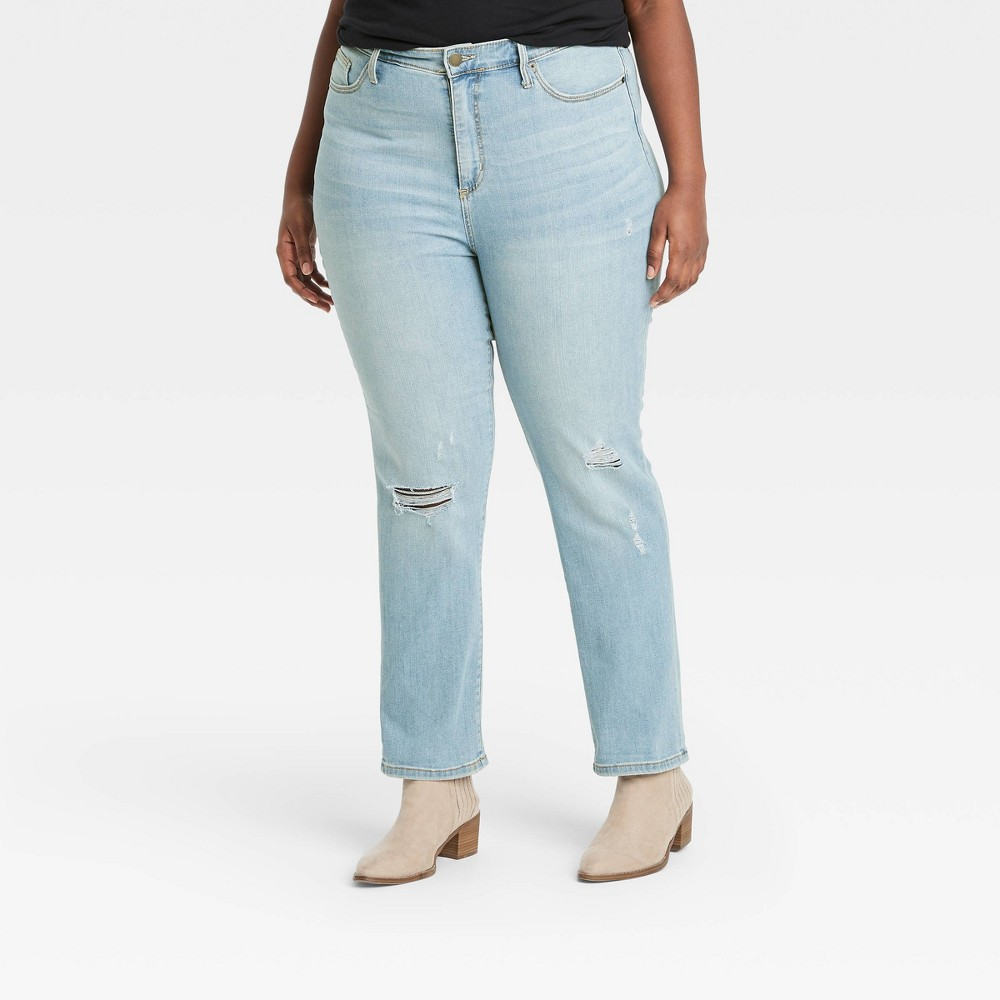 Women 39 S High Rise Straight Cropped Jeans Universal Thread 8482 Light Blue 14w