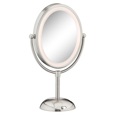 Conair Double-Sided LED Lighted Satin Nickel Finish Cosmetic Mirror - 1x & 7x Magnification