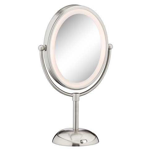 Lighted Makeup Mirror With Magnification.Conair Double Sided Led Lighted Satin Nickel Finish Cosmetic Mirror 1x 7x Magnification