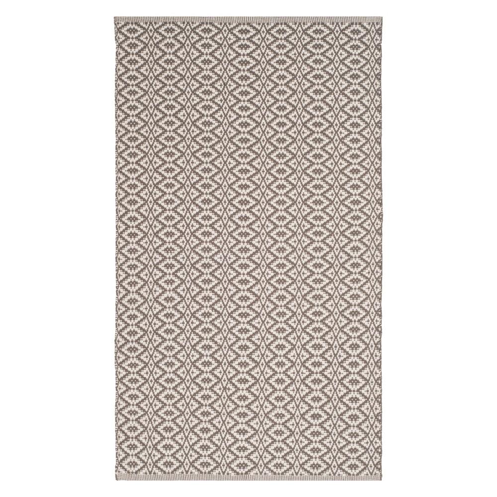 3'X5' Stripe Woven Accent Rug Ivory/Gray - Safavieh