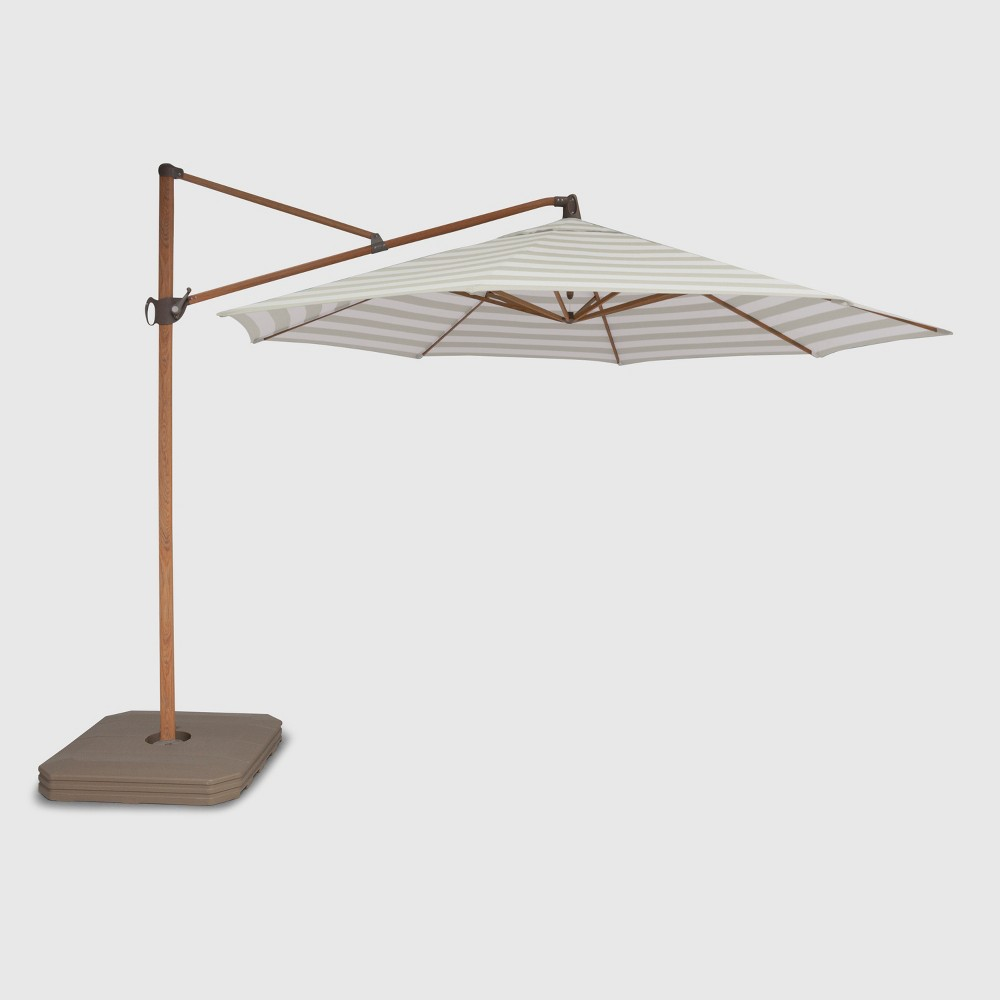 11' Offset Cabana Stripe Patio Umbrella Tan - Light Wood Pole - Threshold