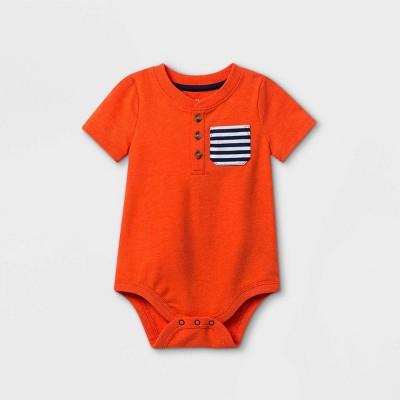 Baby Boys' Henley Pocket Short Sleeve Bodysuit - Cat & Jack™ Dark Orange