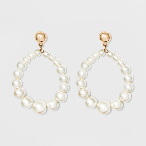 Open Simulated Pearl Teardrop Earrings A New Day White