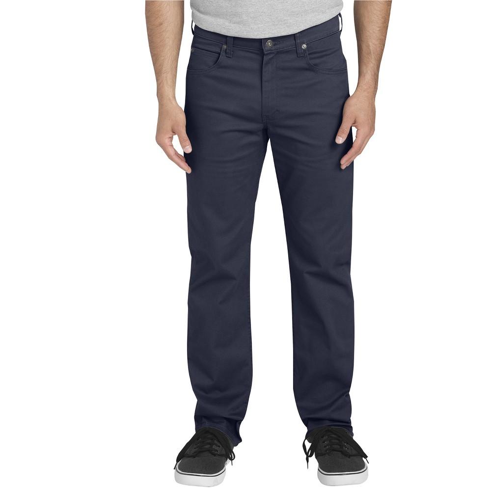 Dickies Men's Flex Twill Regular Straight Fit 5-Pocket Pants - Rinsed Dark Navy 40x32