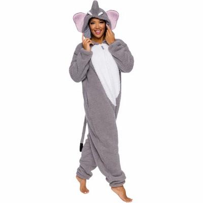 FUNZIEZ! Sherpa Elephant Slim Fit Adult Unisex Novelty Union Suit
