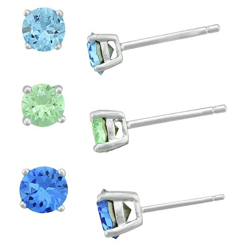 Women's Sterling Silver Crystal, Chrysolite Crystal and Sapphire Crystal Stud Earring Set (3mm/4mm/5mm) - image 1 of 1