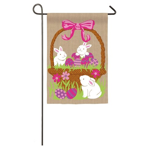 Easter 3 Bunnies in Egg Basket Garden Burlap Flag - image 1 of 1