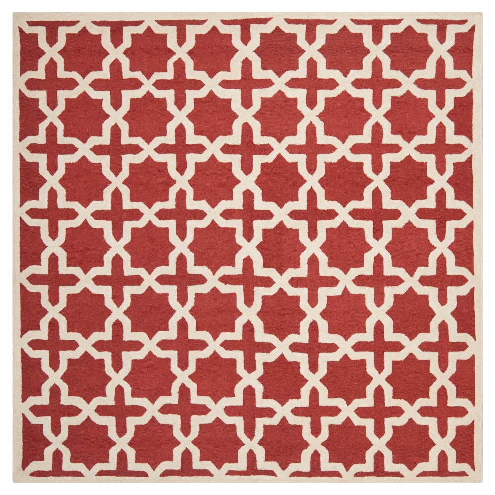 6'X6' Geometric Area Rug Rust/Ivory (Red/Ivory) - Safavieh